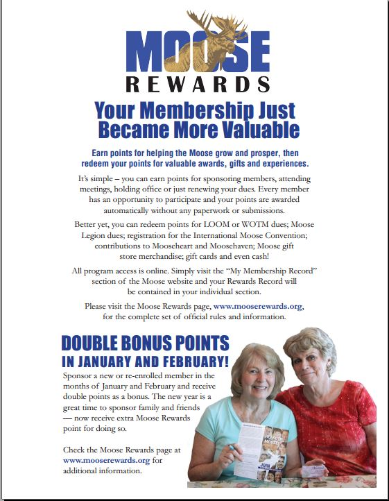 Double Moose Rewards- January and February
