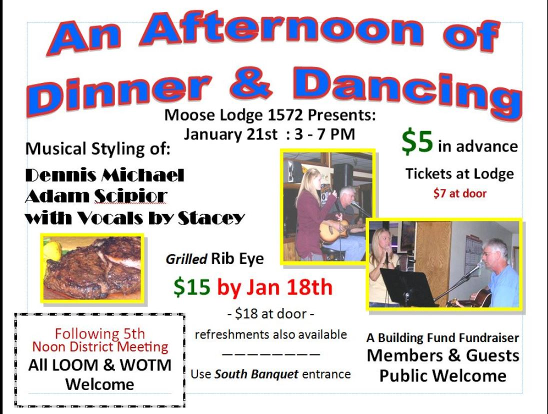 Afternoon of Dinner & Dancing -January 21st